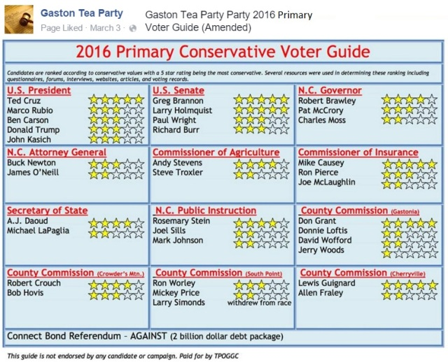 Gaston TEA 2016 voter guide primary
